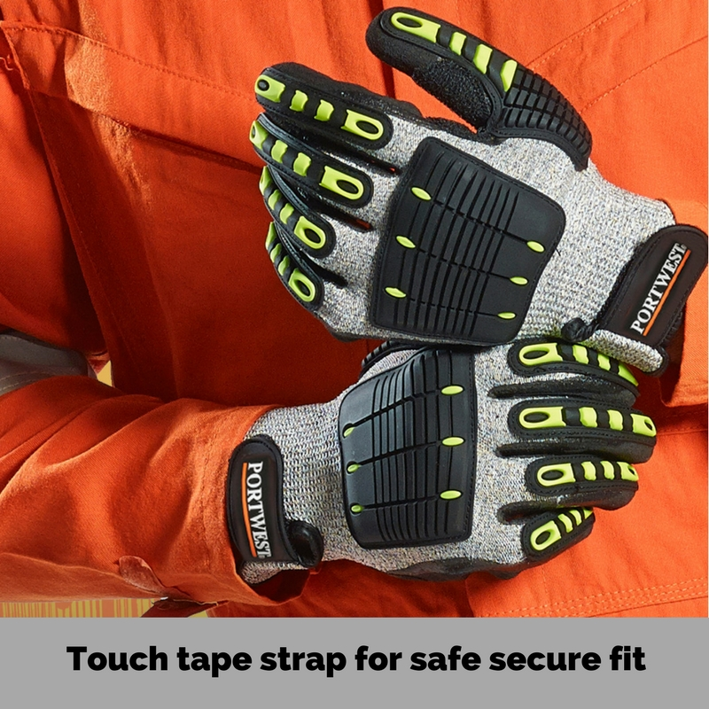 Anti impact glove - Touch tape strap for secure fit