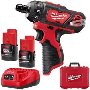 Milwaukee 12V 1.5ah Li-ion 1/4″ Hex Chuck Drill Driver Kit