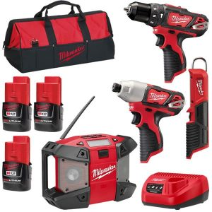 Milwaukee 4 Pce Cordless Combo Kit 12V