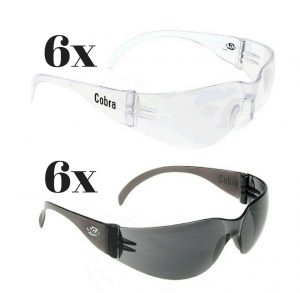 Cobra Smoke/Clear Lens Safety Glasses 12 pcs
