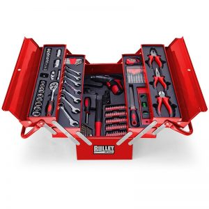 Bullet 118 Piece Cantilever Tool Box Kit Red