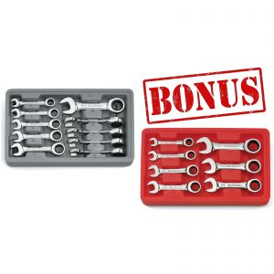 10 Piece Stubby Ratcheting Spanner Set Metric Bonus 7 Piece SAE Set