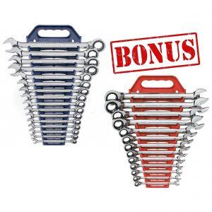 16 Piece Combination Ratcheting Spanner Set Metric Bonus SAE Set