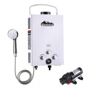 Outdoor Gas Water Heater with Pump (White)
