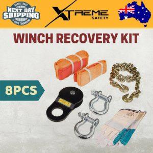 8PCS 4WD Winch Recovery Kit Straps Nylon Snatch Strap Bow Shackles Glove Bag