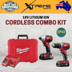 New Milwaukee M18 2 Piece Cordless 18V Lithium Ion Combo Kit Tool Drill Driver