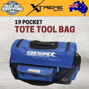 New Kincrome 500MM Heavy Dauty 19 Pocket Wide Mouth Tote Tool Bag – Blue