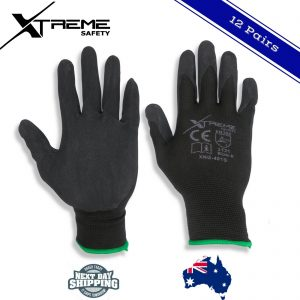 Black Nitrile Safety Gloves Work Gloves General Purpose (12 pairs Size- 8/M)