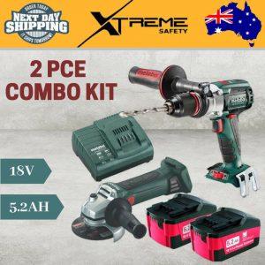 New Metabo 18V 5.2Ah 2 Piece Cordless Brushless Combo Kit Hammer Drill & Grinder